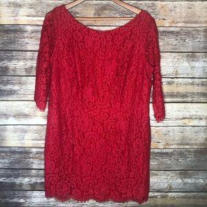 Eshakti red lace mini dress plus 18 pockets tunic